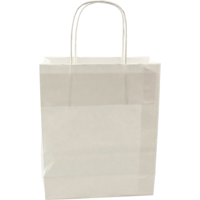 100 pezzi Borsa da Trasporto in Carta bianco con Cordone Ritorto, 18x8x22cm,