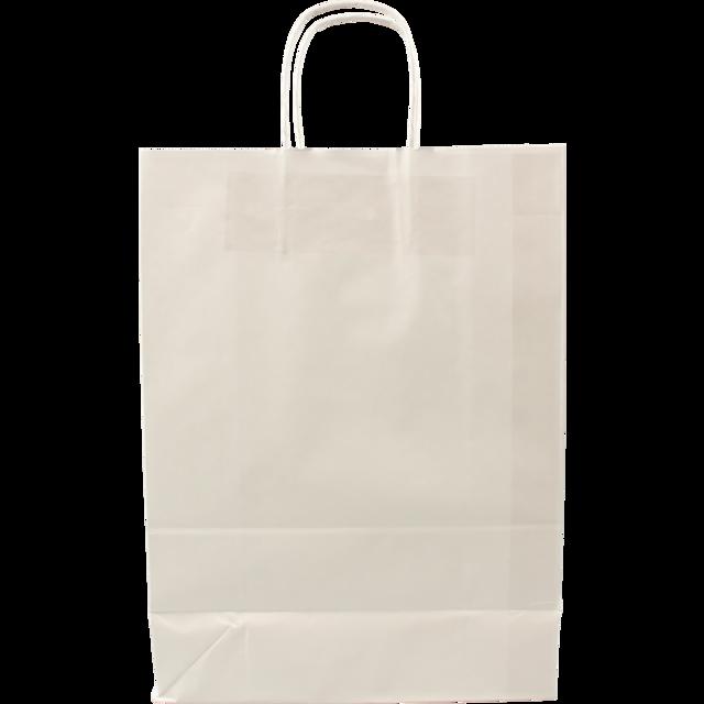 100 pezzi Borsa da Trasporto in Carta bianco con Cordone Ritorto, 26x12x35cm,