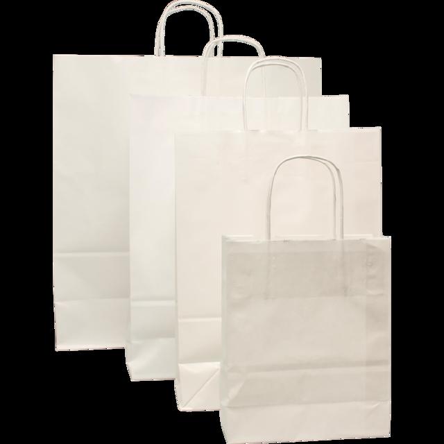 100 pezzi Borsa da Trasporto in Carta Blanco con Cordone Ritorto, Varie Formati
