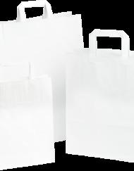 250 Pezzi Borsa da Trasporto in Carta Blanca, Maniglia Piatta,