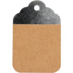 50 pezzi Etichette Kraft Marrone-Argento 8.5x5.5cm