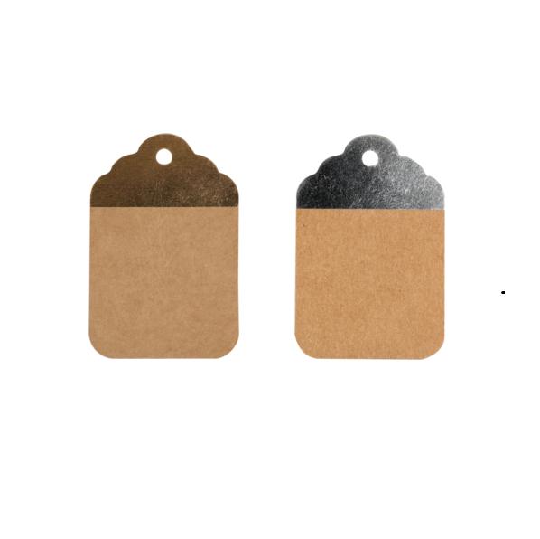 50 pezzi Etichette Kraft Marrone-Argento o Marrone-Oro 8.5x5.5cm