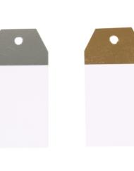 50 pezzi Etichette Regalo Kraft Bianco e Argento o Bianco e Oro 4,5x9cm