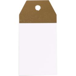 50 pezzi Etichette Regalo Kraft Bianco e Oro 4,5x9cm