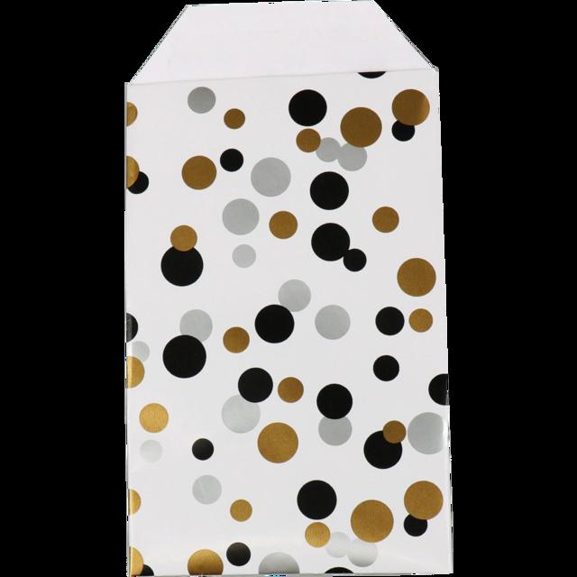 150 pezzi Sacchetti di Carta Pois Nero Oro e Argento