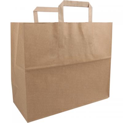 250 pezzi sacchetti di carta FSC manico piatto marrone