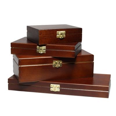 Scatole in legno FSC con coperchio A4, A5, A6 laccate esterne in nero o marrone
